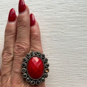 Jewelry - Cocktail Ring Red & Pewter